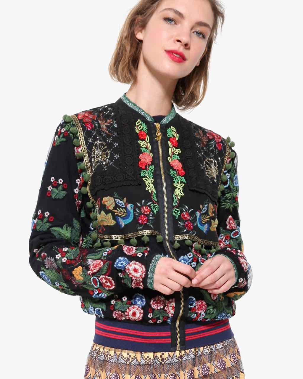 Desigual Light Jacket with Floral Embroidery