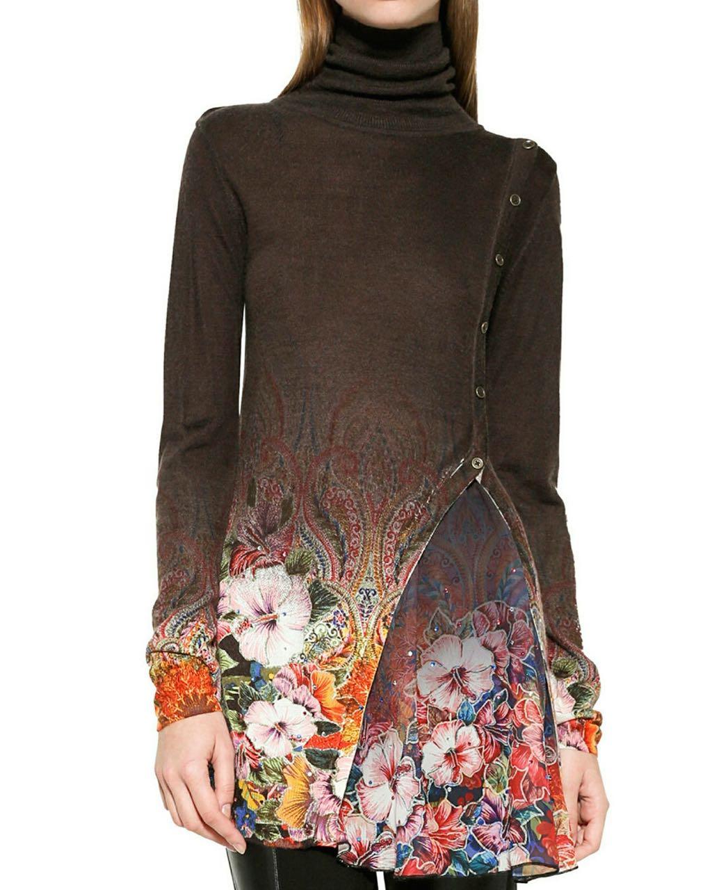 Desigual Brown Long Asymmetric Sweater