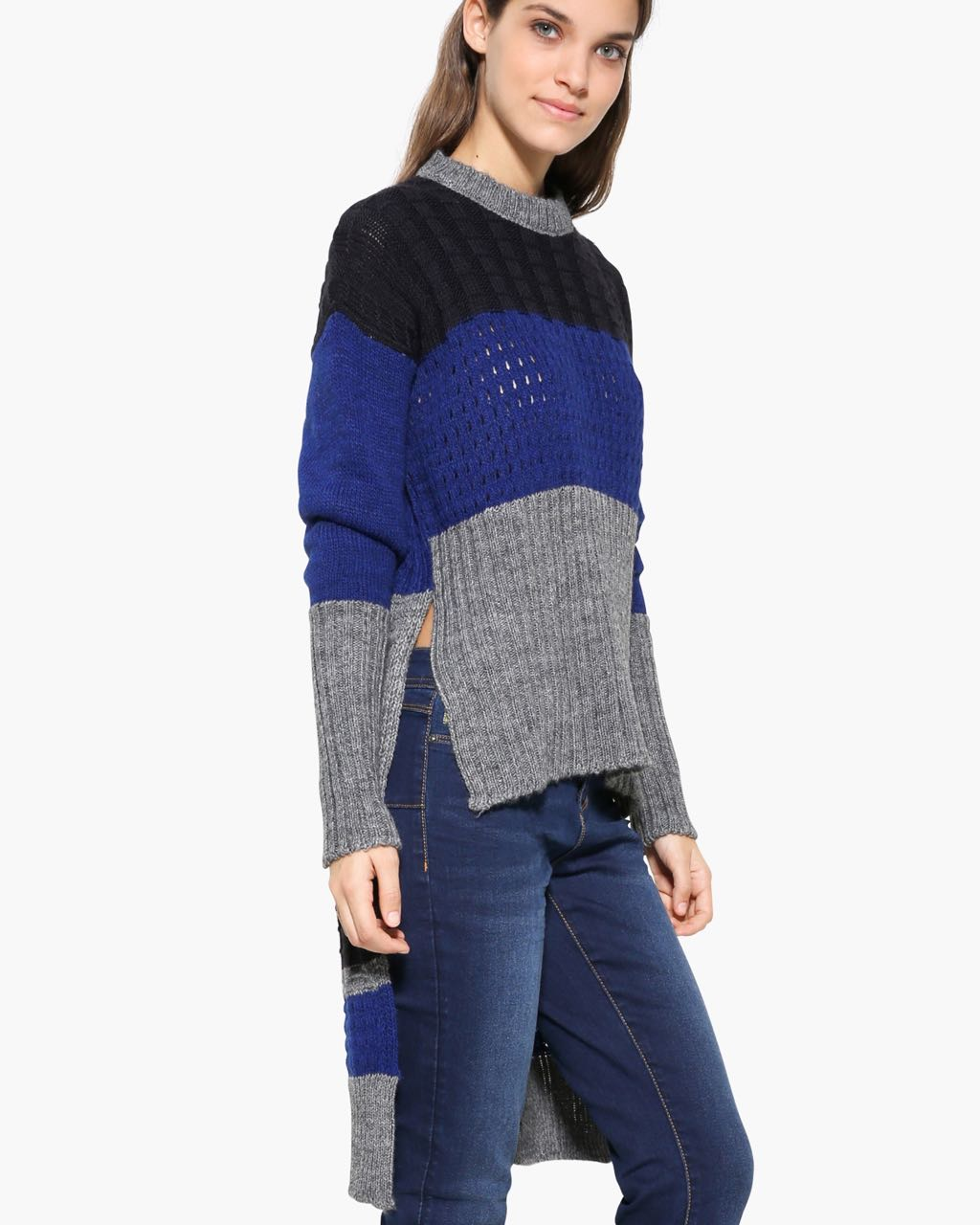 Desigual High Low Striped Sweater