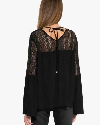 Desigual Black Top with Bell Sleeves