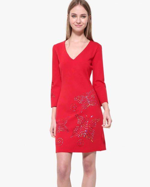 17WWVK44_3136 Desigual Red Dress Dominique Buy Online