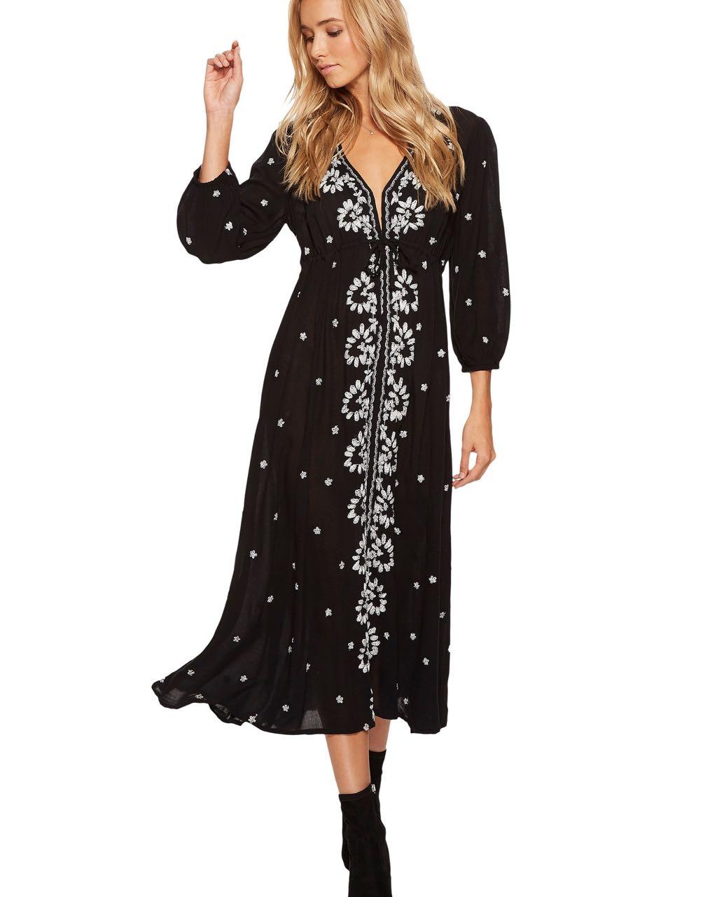 Free people embroidered v maxi dress ob canada us