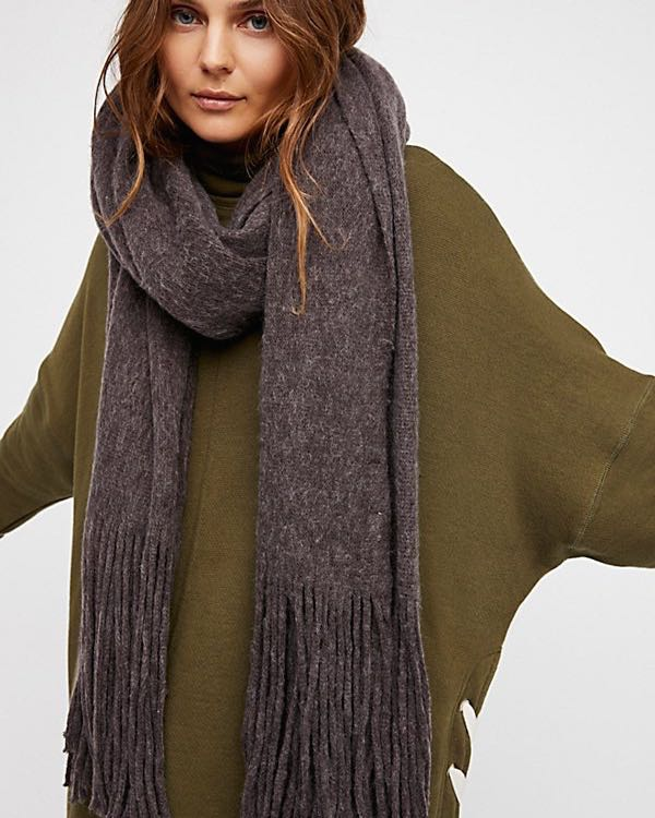 Free People Kolby Brushed Scarf Raisin