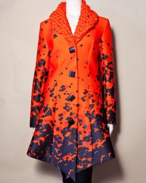 Samuel Dong Coat 17072 Black and Orange Buy Online