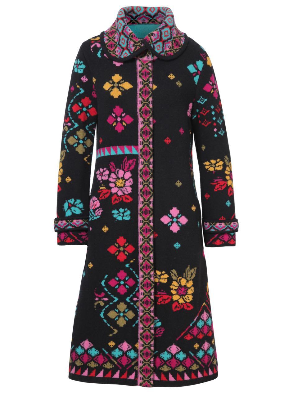Ivko Collar Long Coat Geomatric Pattern 72601 Buy Online