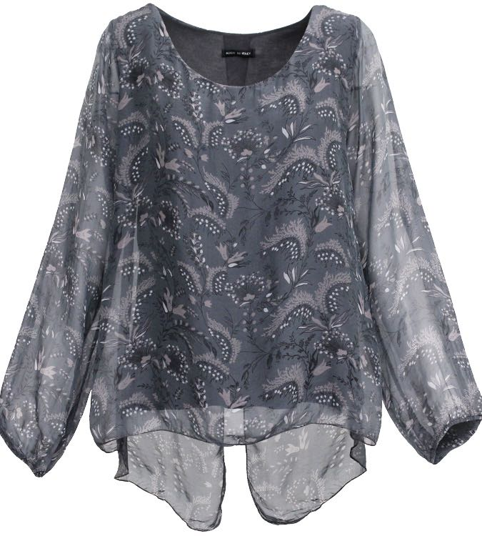 M Made In Italy Top 10 6515h Anthracite Blouse Silk