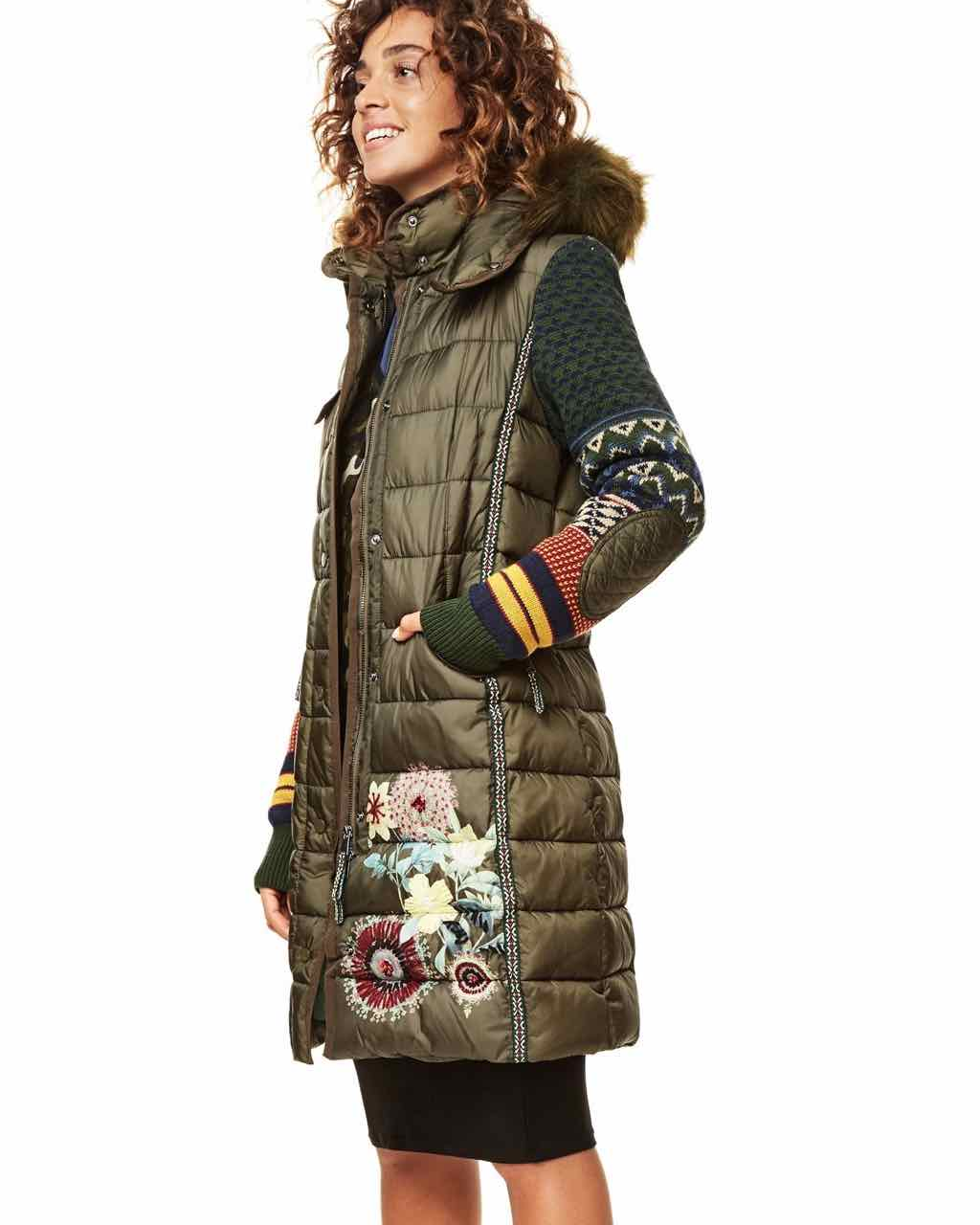 desigual coat michelle 17wwew75 khaki knitted sleeves. Black Bedroom Furniture Sets. Home Design Ideas