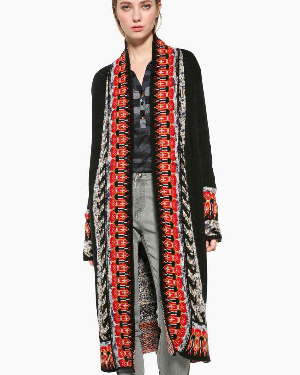 Desigual Long Ethnic Cardigan