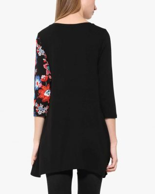 Desigual Black Tunic with floral design