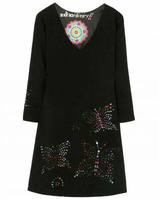 Desigual Black Dress Butterfly Laser Cut