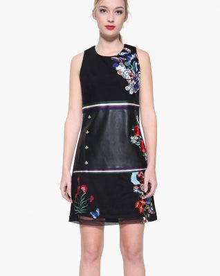 Desigual Black Dress with Floral Embroidery