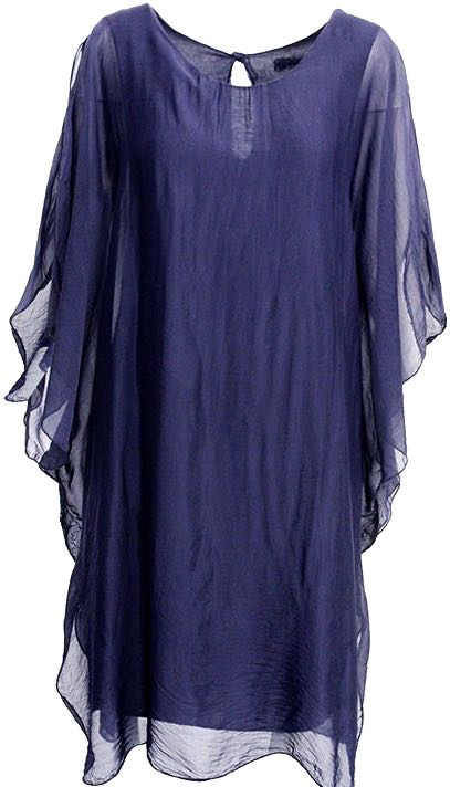 M Made in Italy Silk Blue Dress