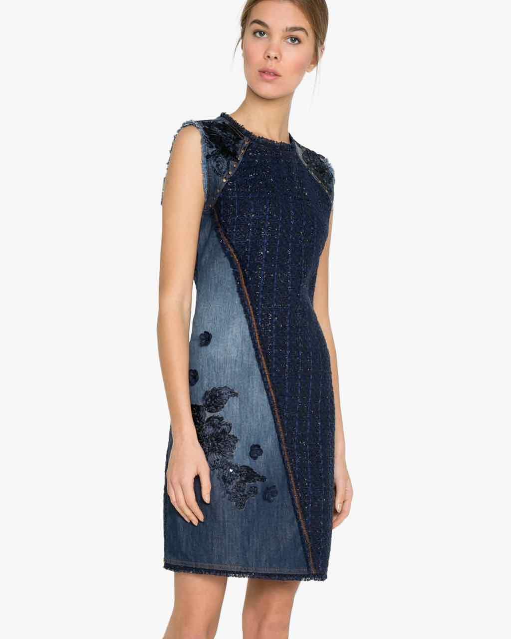 Desigual Dress Achille 17wwvd05 Blue Denim Buy Online
