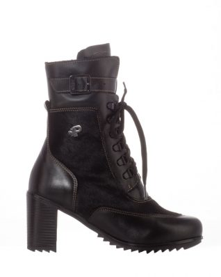 Pajat Black Winter Boots on Heel