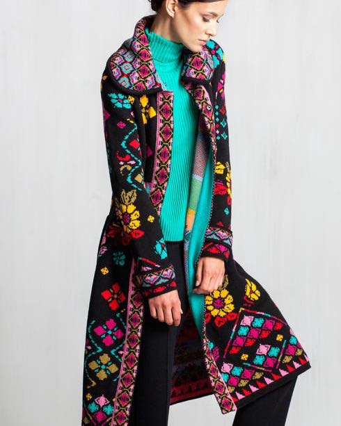 Ivko Coat Geometric Pattern