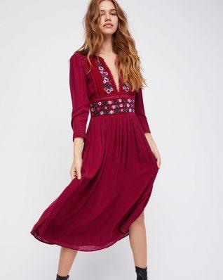 Free people Floral Midi Dress Burgundy