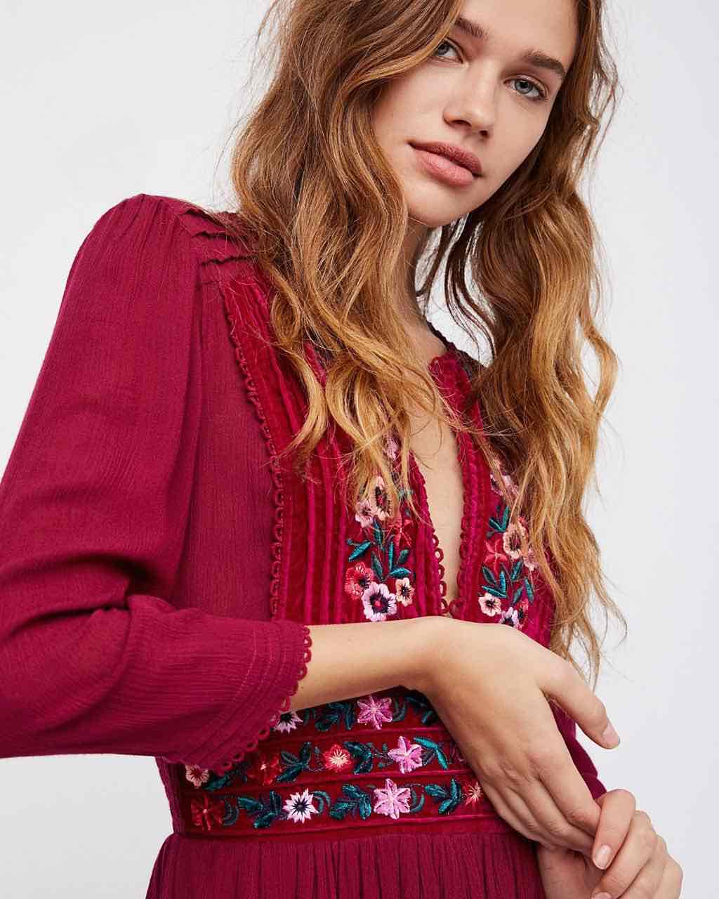 Free People Midi Dress with Embroidery