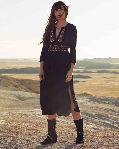 Free People Floral Dress Black