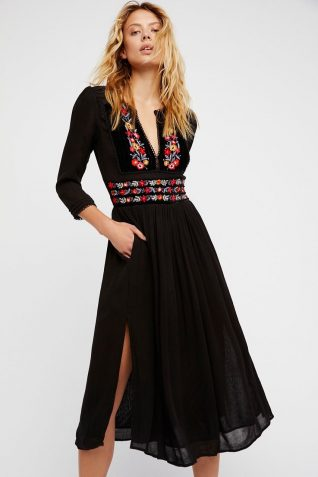 Free People Midi Black Dress with Embroidery