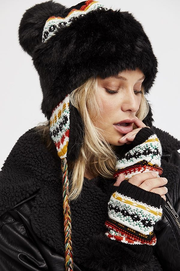 Free People Winter Hat with Fur and PomPom