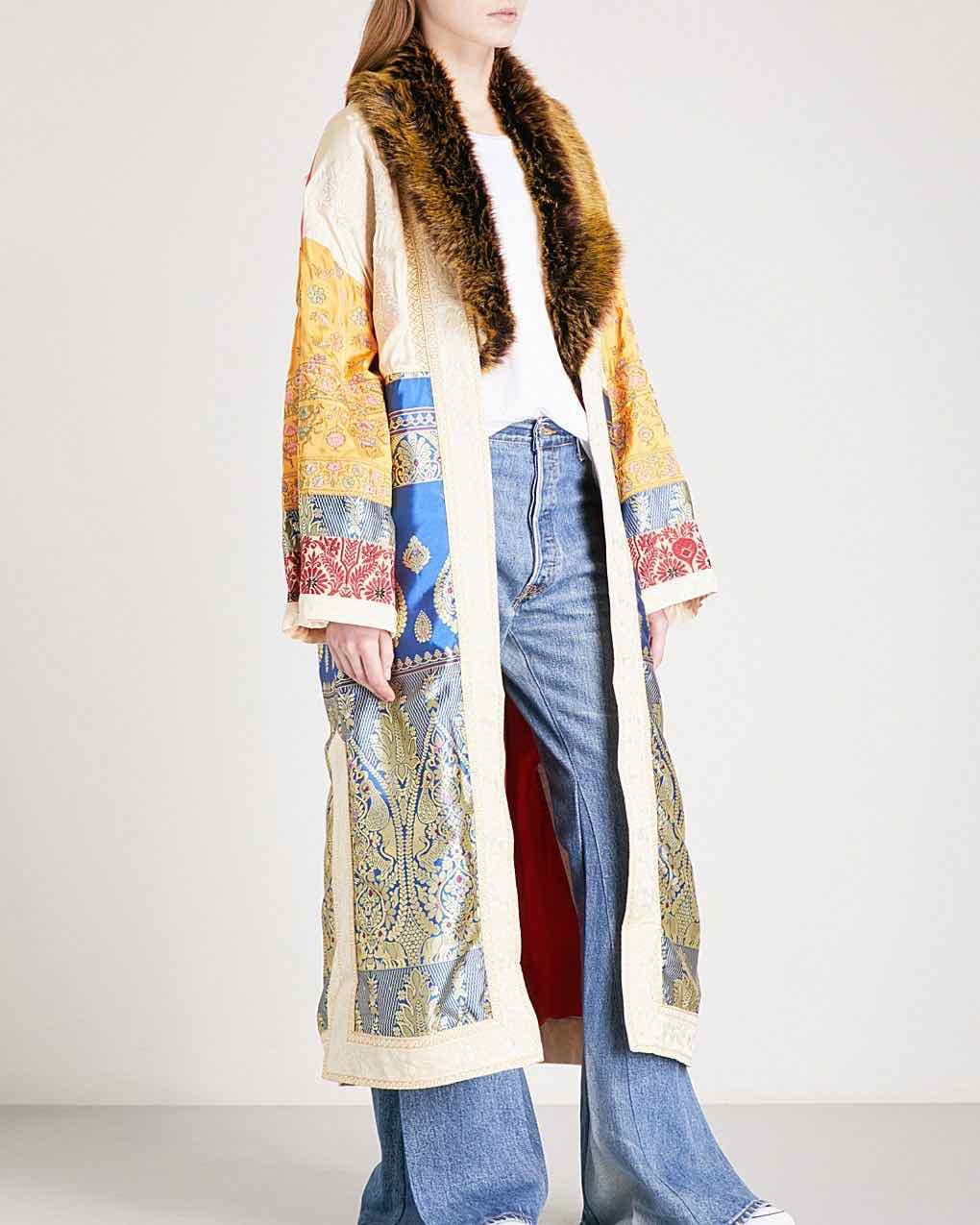 free people sari not sorry coat kimono embroidery
