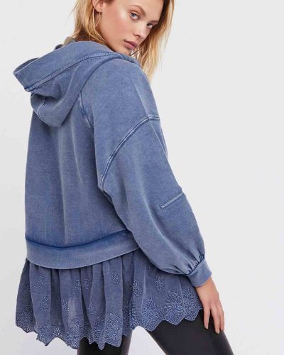 Free people Cotton Hoodie with Poplin Hem