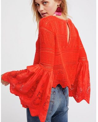 Free People Red Crochet Top