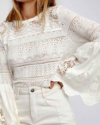 Free people Crochet White Top
