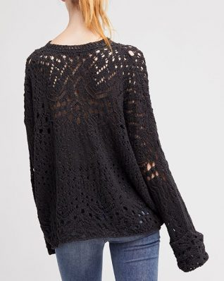 Free people Travelling Lace Pullover carbon