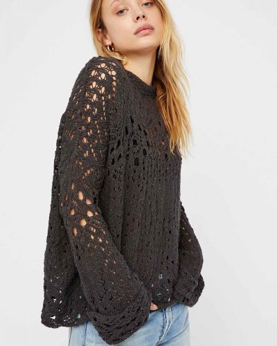 Free people Travelling Lace Pullover Black