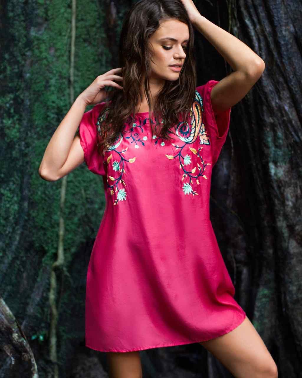 Ondademar Silk Dress with Embroidery