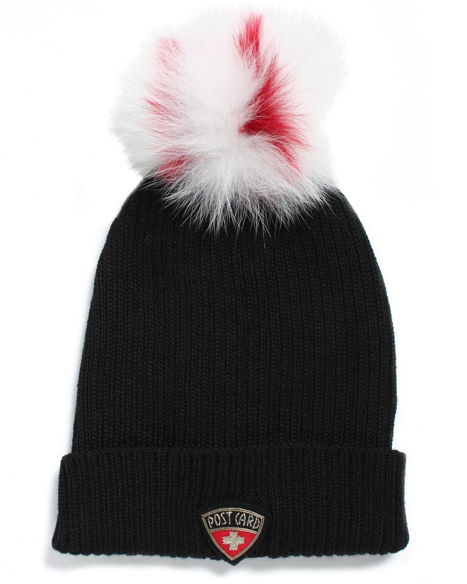 Post Card Women s Wool Hat Highlands BLACK with White   Red Pom Pom ... 3ce7f794205