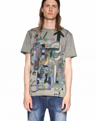 Desigual Men T-Shirt with Patches