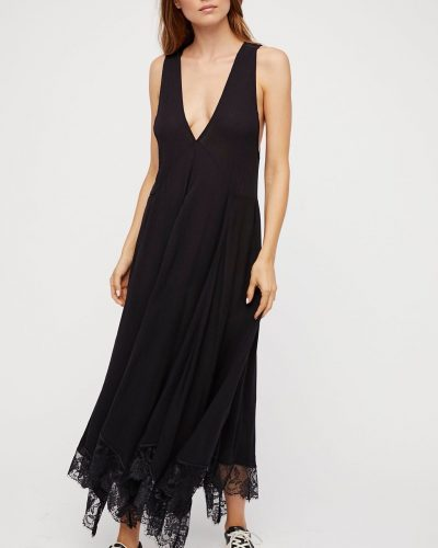 Free People Long Black Slip with LaCE
