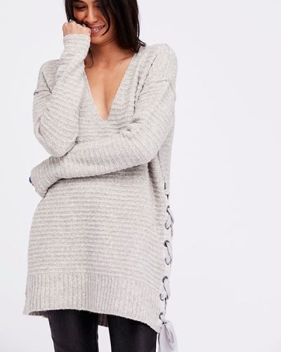 Free People Long Sweater with Laces
