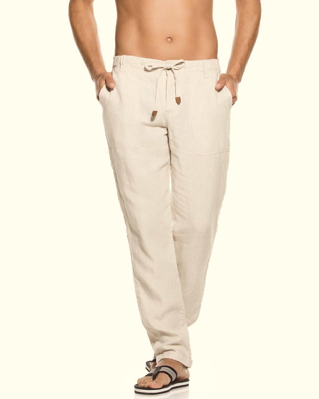 50f48684a1 OndadeMar Men's Linen Pants Light Beige PTH010/SELS  Buy Online