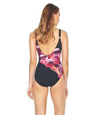 Gottex Black Swimsuit Pink Flower