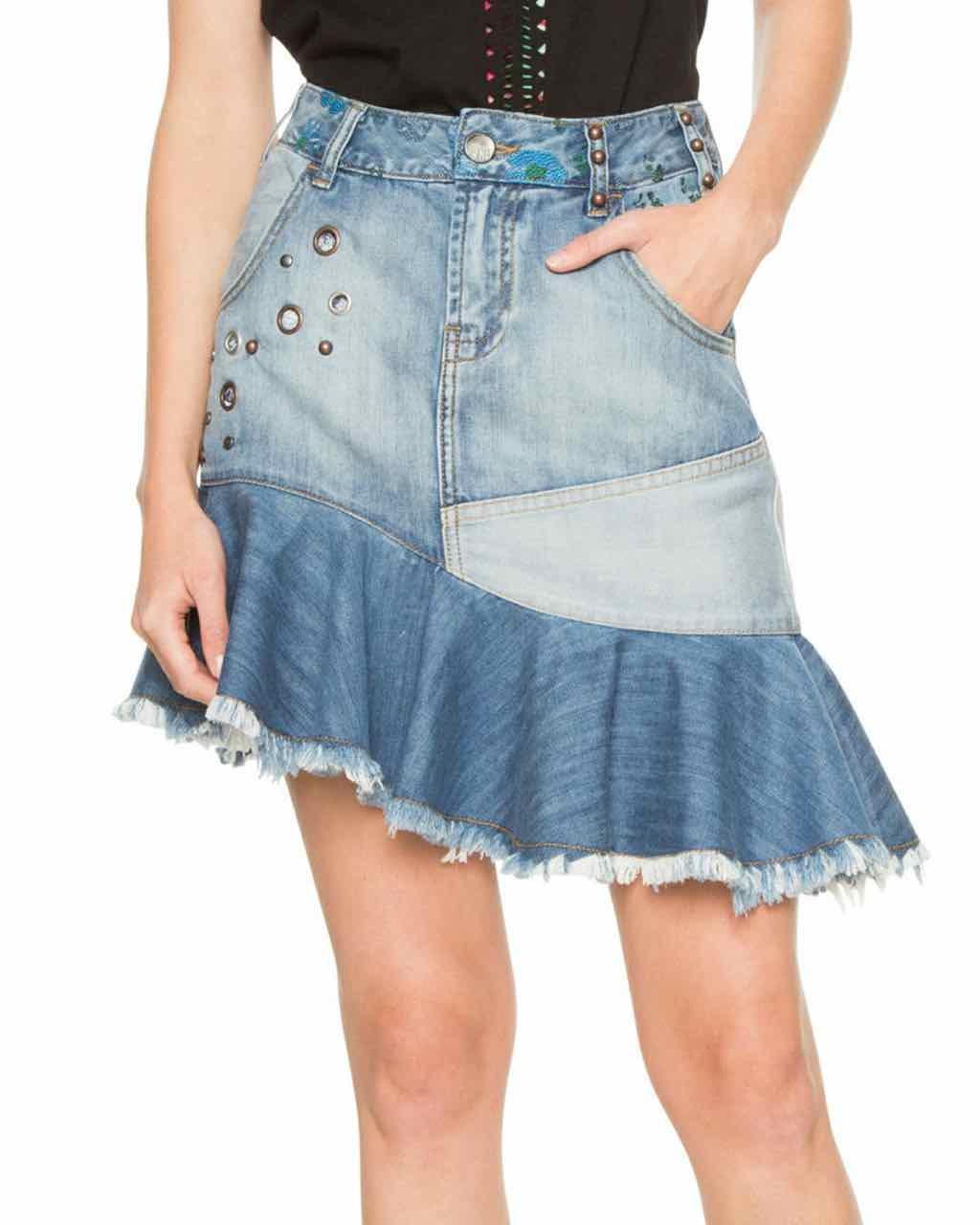 7848d7554 DESIGUAL Denim Skirt Eleni 18SWFD01 | Asymmetric Denim