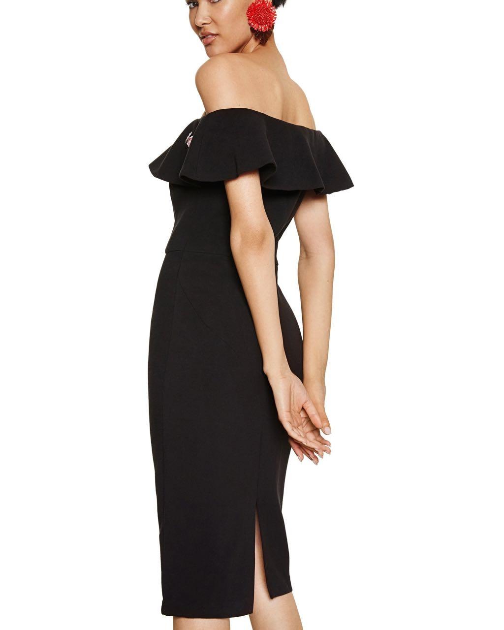 Desigual Dress Marina 18swvwaw Black Ruffled Neckline Buy Online