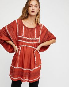 Free People Terracotta Long Top