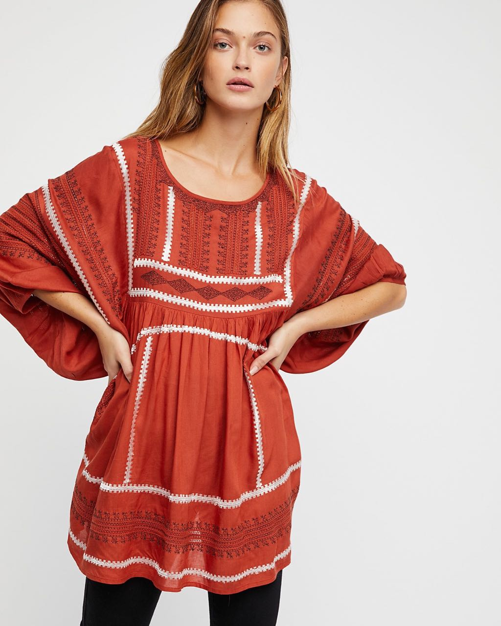 f8b81f266fe55e Free People WILD ONE EMBROIDERED TUNIC F16T02103 Terracotta | Buy Online