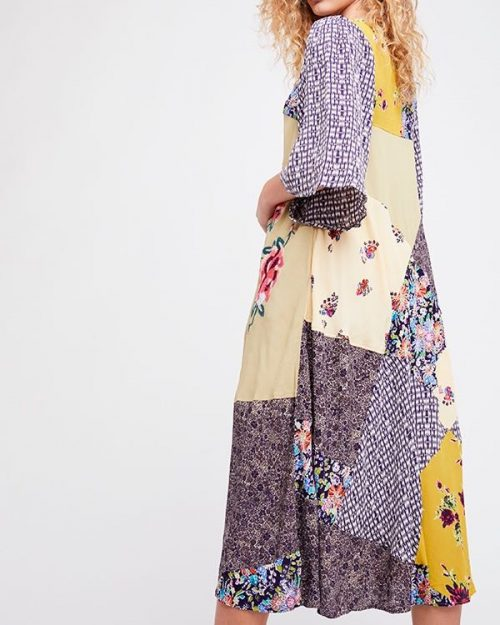 Free People Patchwork Long Dress