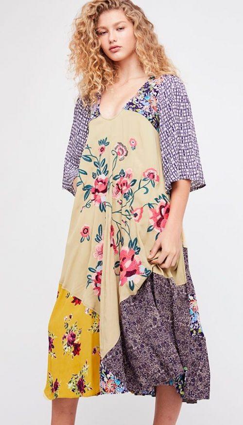 Free People River Market Midi Dress