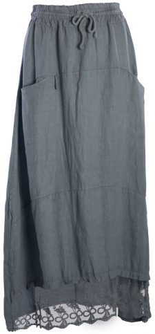 M Made in Italy Linen Long Skirt