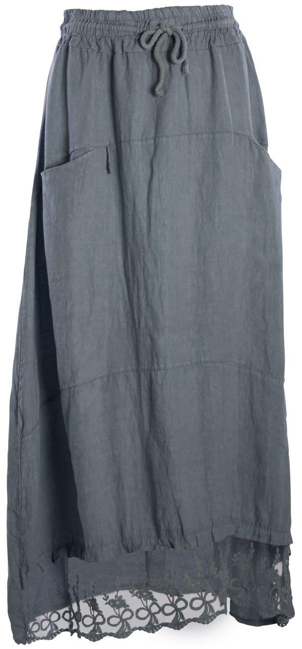 M Made In Italy Linen Skirt 18 228i Curacao Sunrise White