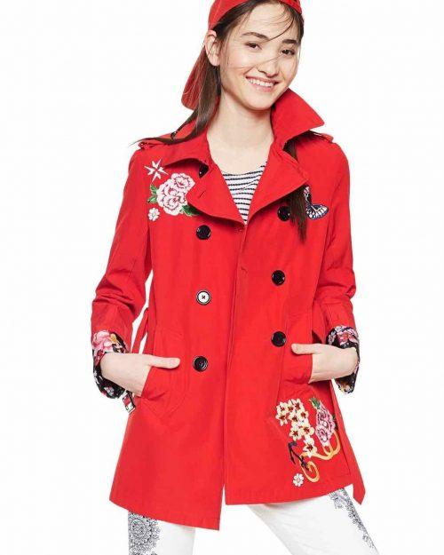Desigual Red Spring Coat 2018