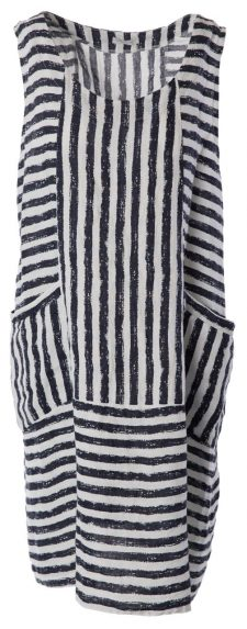 M Made in Italy White Blue Striped Dress