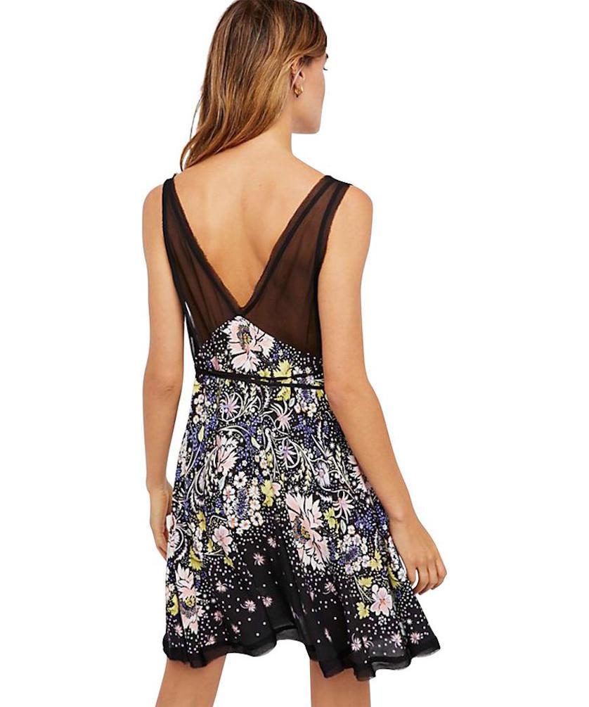 Free People LONGWOOD PRINTED Slip Dress OB750515 Black