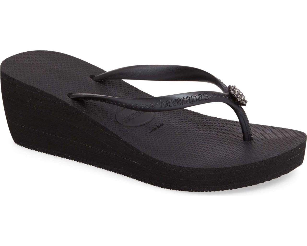 4b0df3857dfaf Havaianas Wedge Flip Flops High Fashion POEM Black