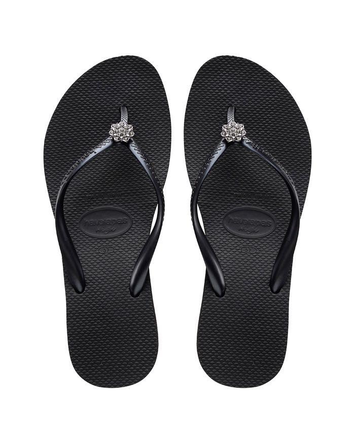 9d490964e Havaianas Flip Flops Slim CRYSTAL POEM Black